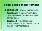 food based meal pattern
