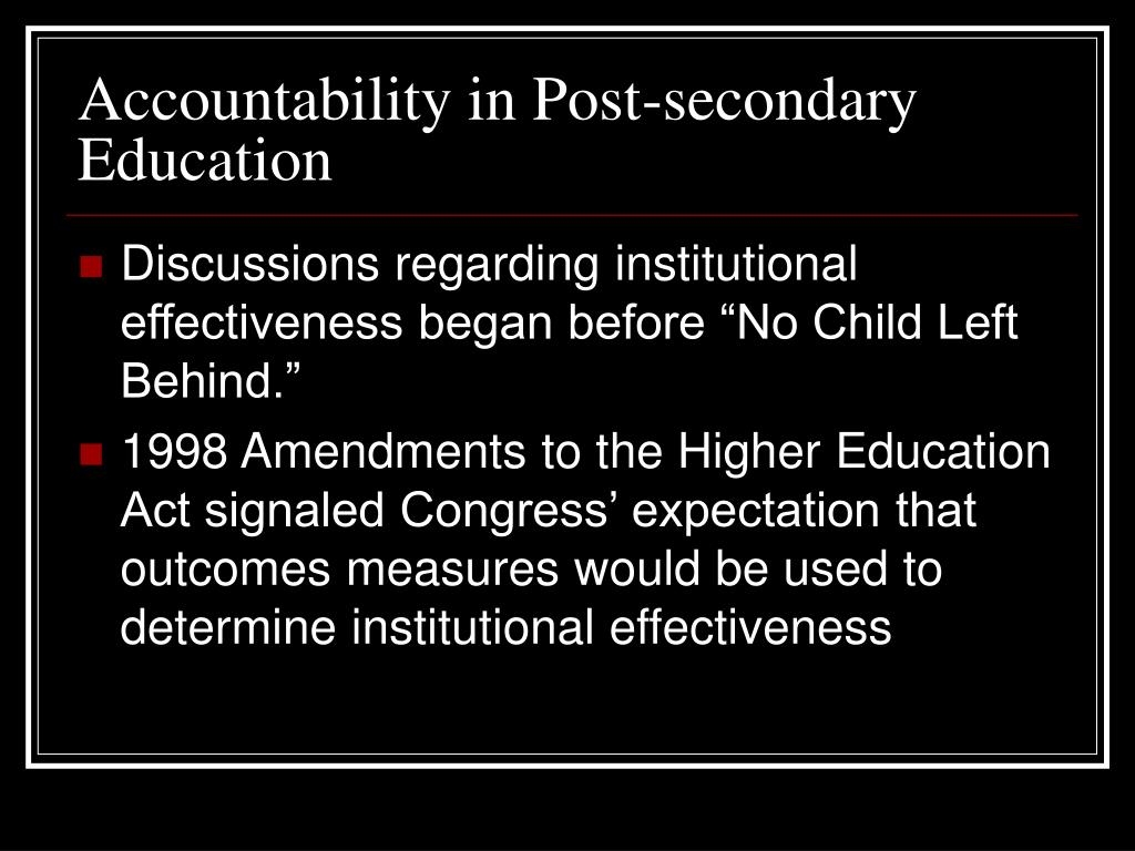 Accountability in Post-secondary Education