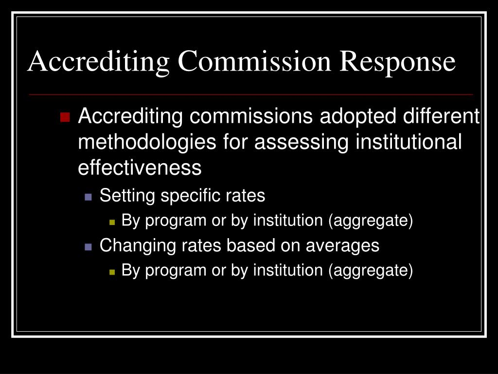 Accrediting Commission Response