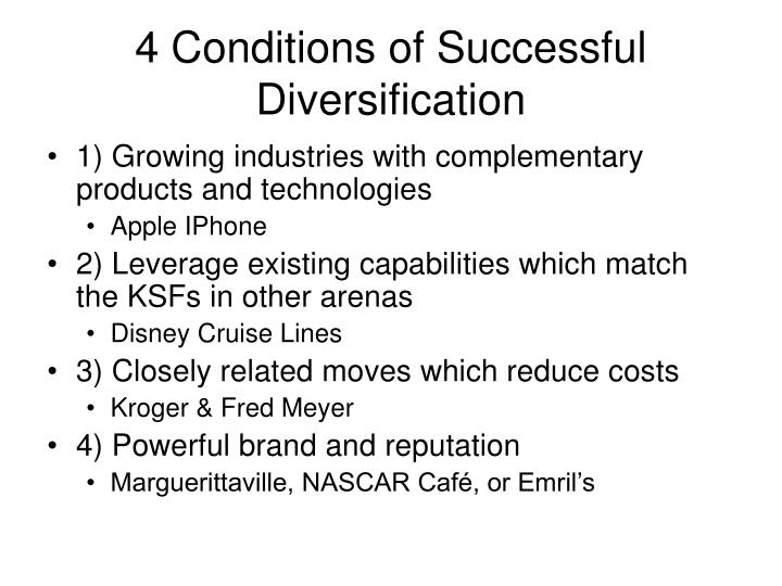 4 Conditions of Successful Diversification