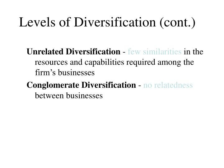 Levels of Diversification (cont.)