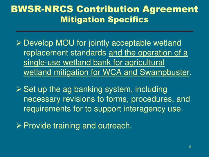 BWSR-NRCS Contribution Agreement