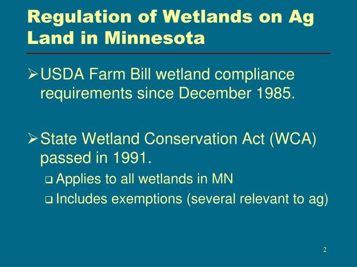 Regulation of Wetlands on Ag Land in Minnesota