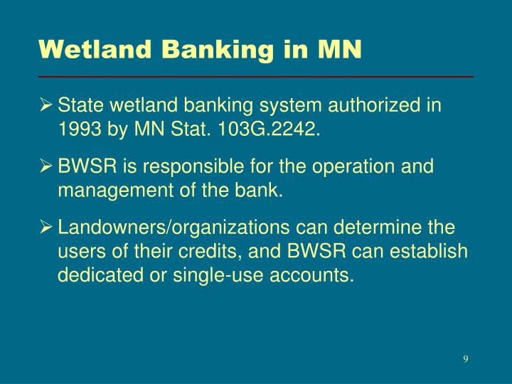 Wetland Banking in MN