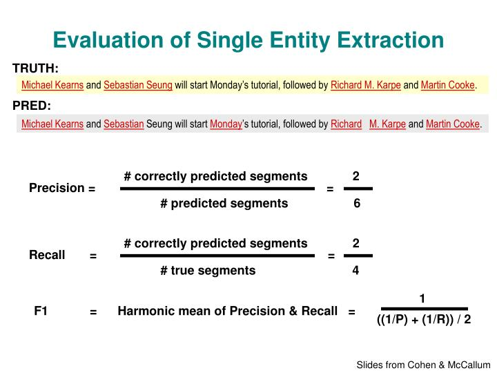 Evaluation of Single Entity Extraction