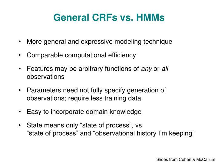 General CRFs vs. HMMs