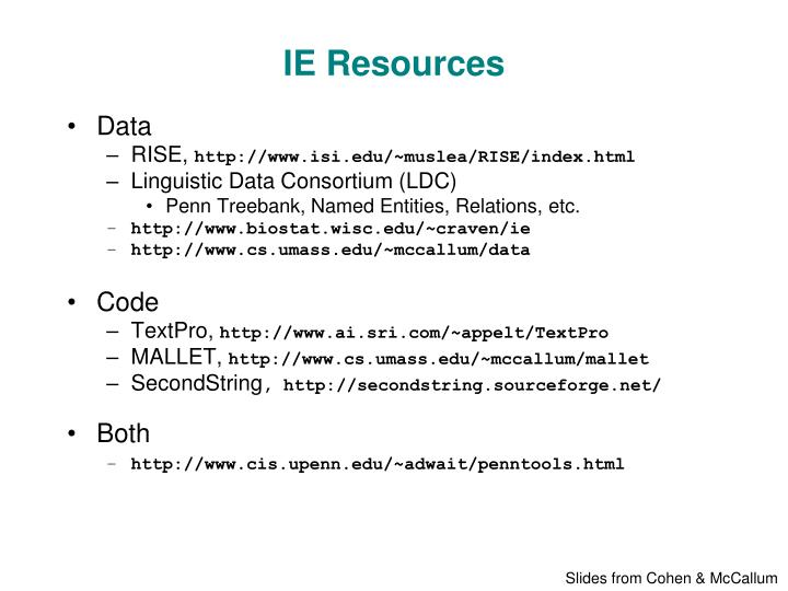 IE Resources