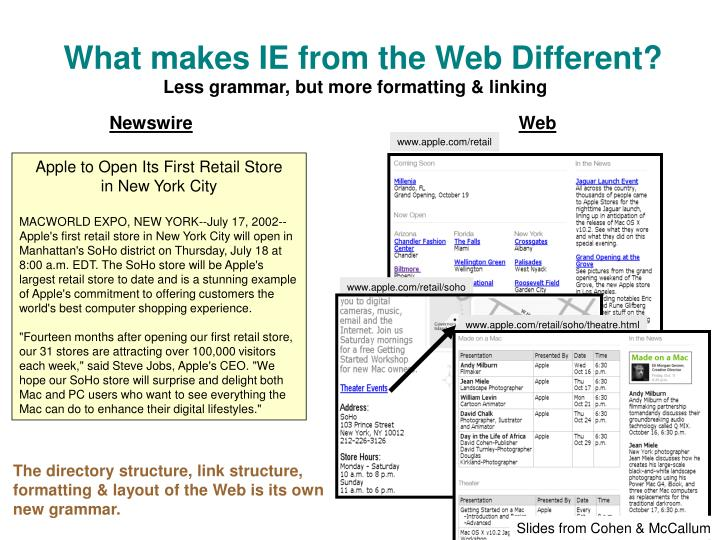 What makes IE from the Web Different?