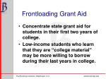 frontloading grant aid