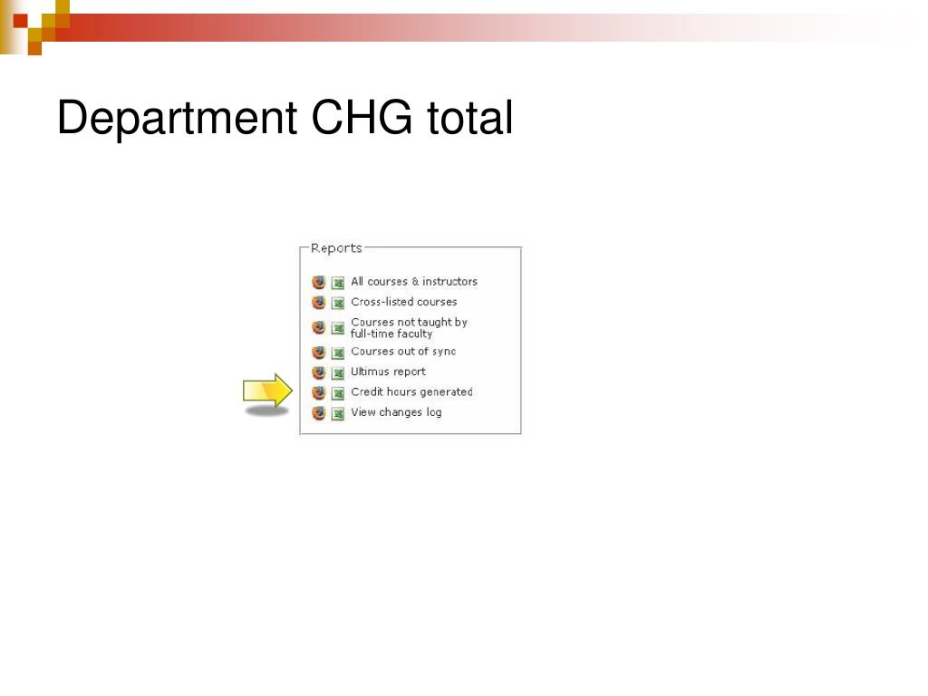 Department CHG total