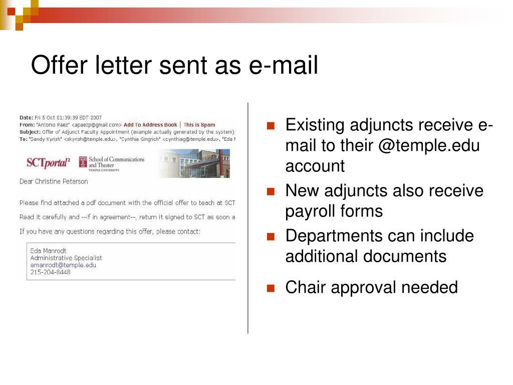 Offer letter sent as e-mail