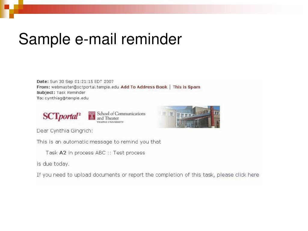 Sample e-mail reminder