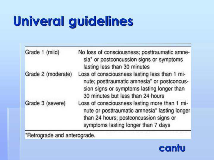 Univeral guidelines