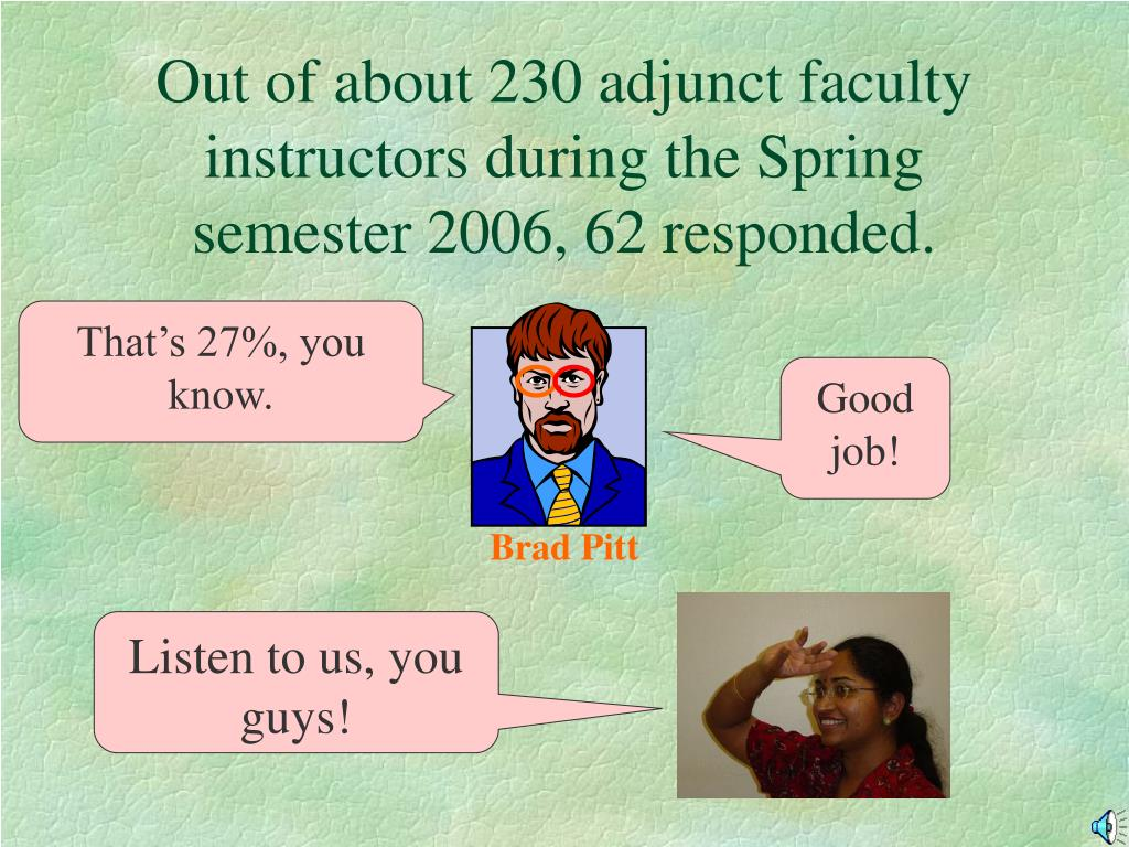 Out of about 230 adjunct faculty instructors during the Spring semester 2006, 62 responded.