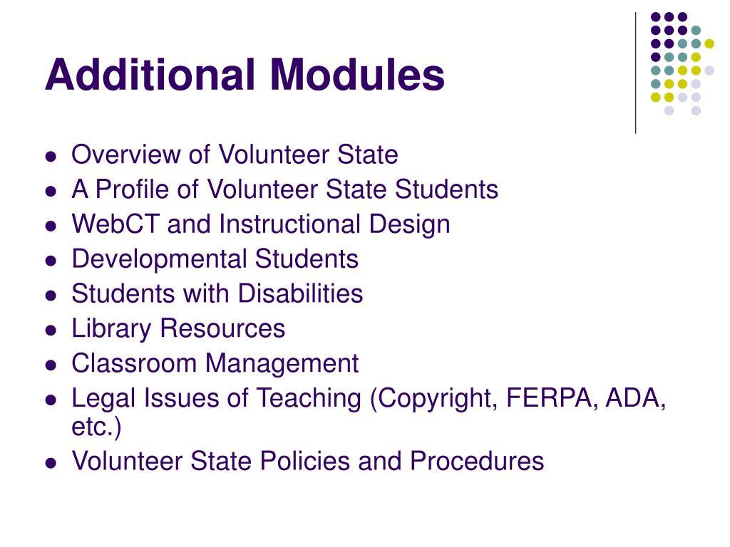 Additional Modules