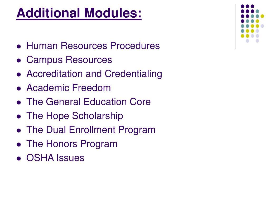 Additional Modules: