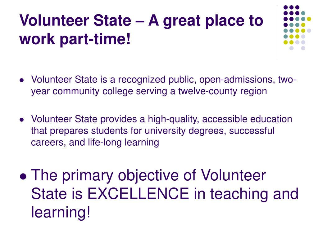 Volunteer State – A great place to work part-time!