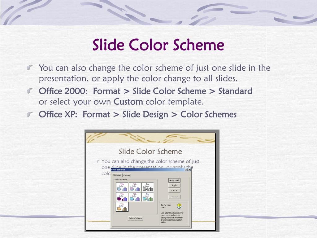 Slide Color Scheme