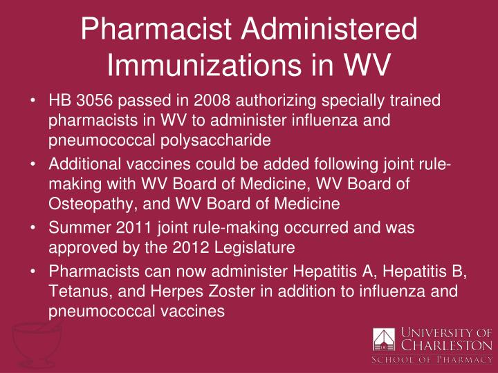 Pharmacist administered immunizations in wv