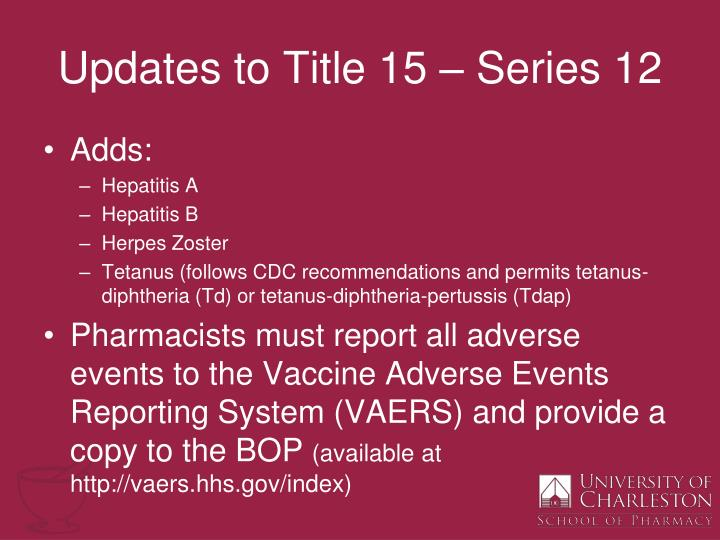 Updates to Title 15 – Series 12