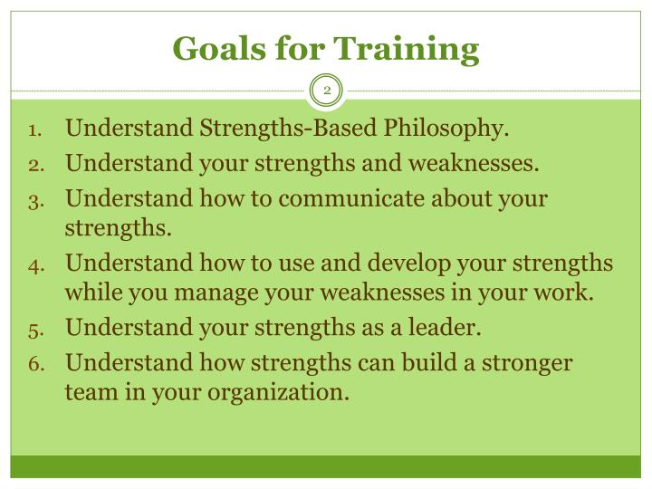 Goals for Training
