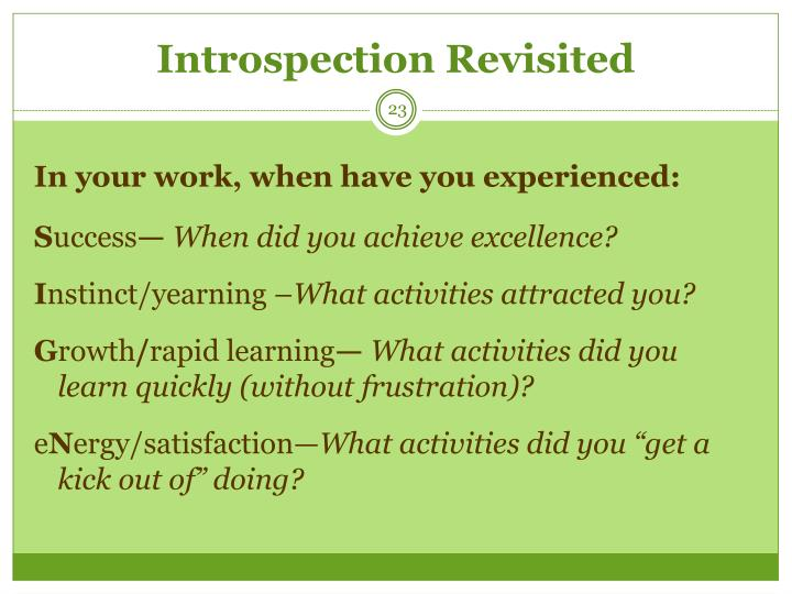 Introspection Revisited