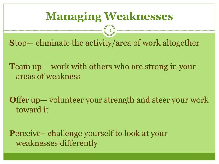 Managing Weaknesses