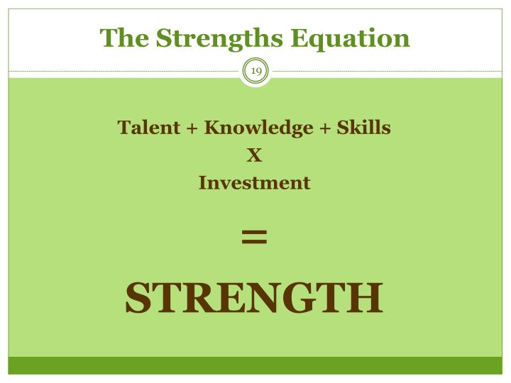The Strengths Equation