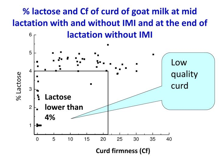 % lactose and Cf of curd of goat milk at mid lactation with and without IMI and at the end of lactation without IMI