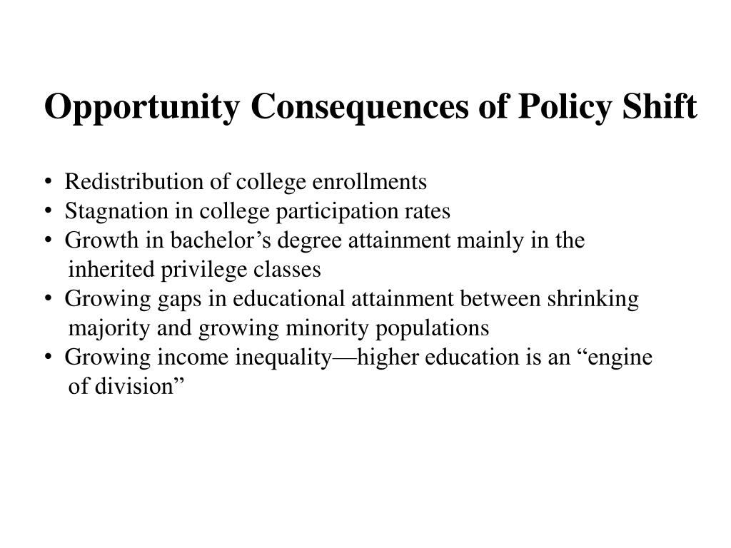Opportunity Consequences of Policy Shift