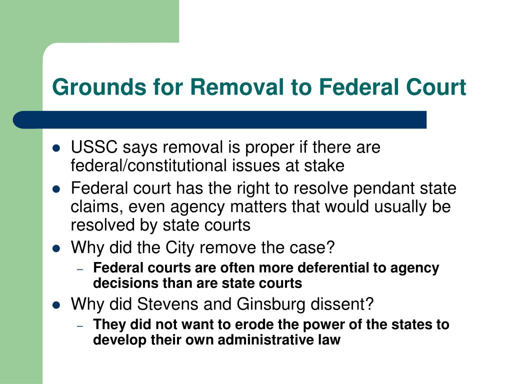 Grounds for Removal to Federal Court