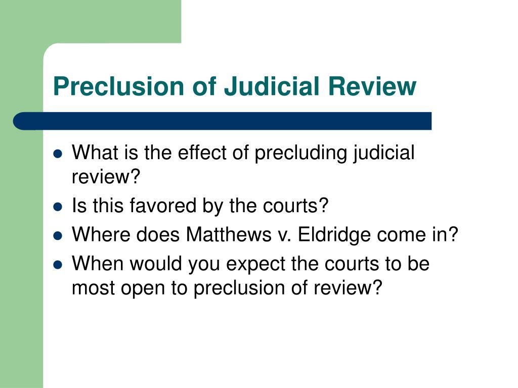 Preclusion of Judicial Review