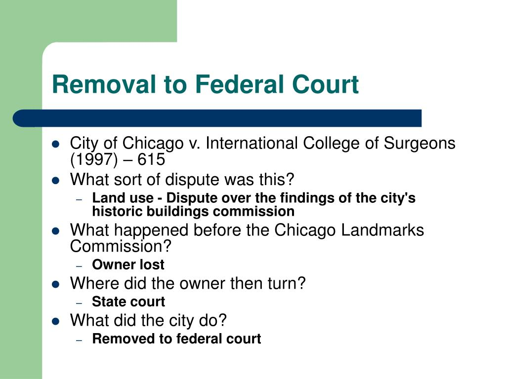 Removal to Federal Court
