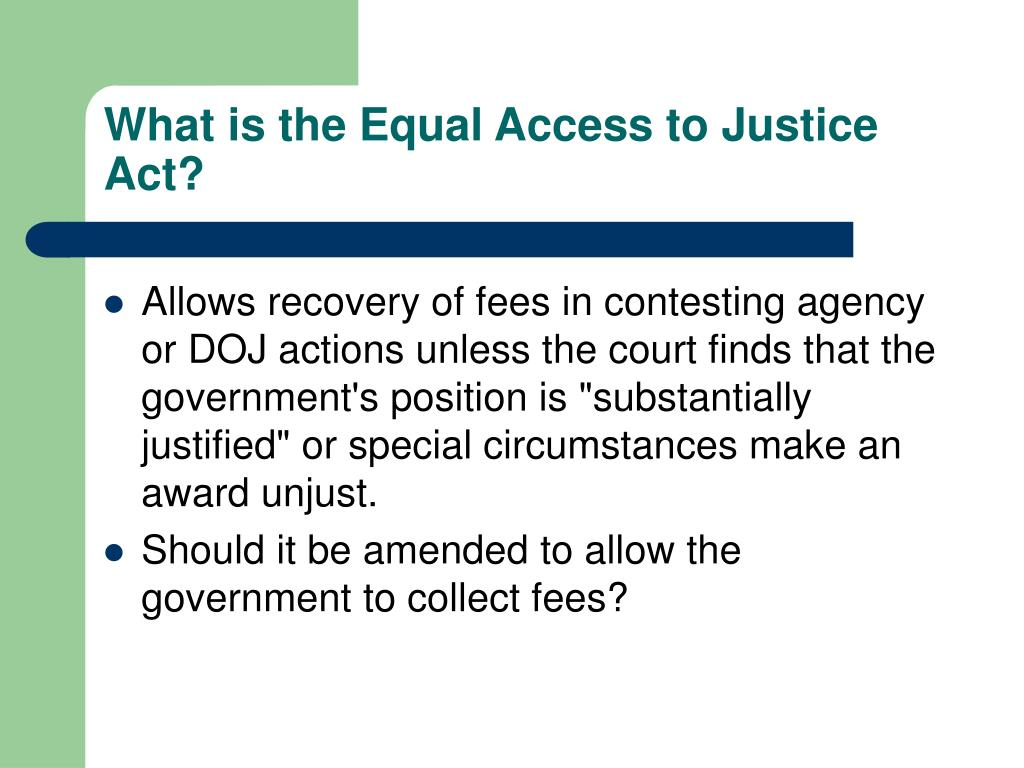 What is the Equal Access to Justice Act?