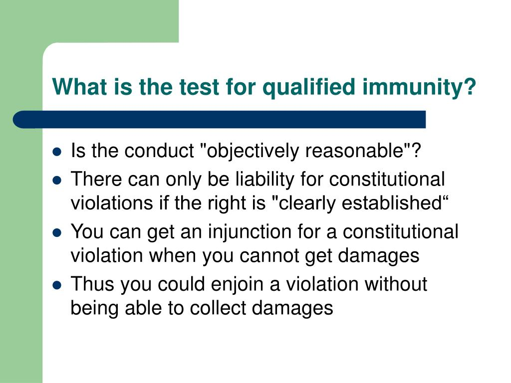 What is the test for qualified immunity?