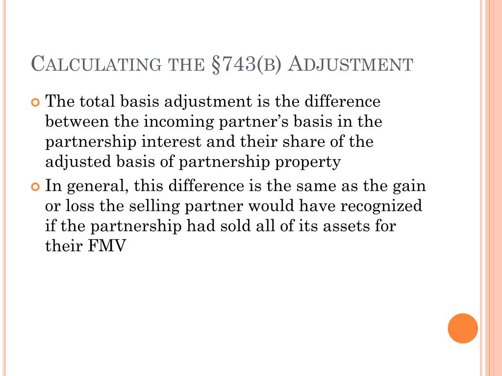 Calculating the §743(b) Adjustment