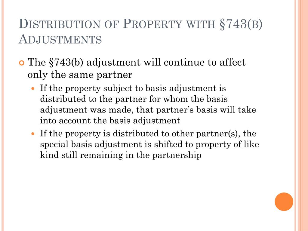 Distribution of Property with §743(b) Adjustments