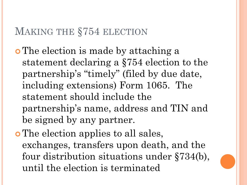 Making the §754 election