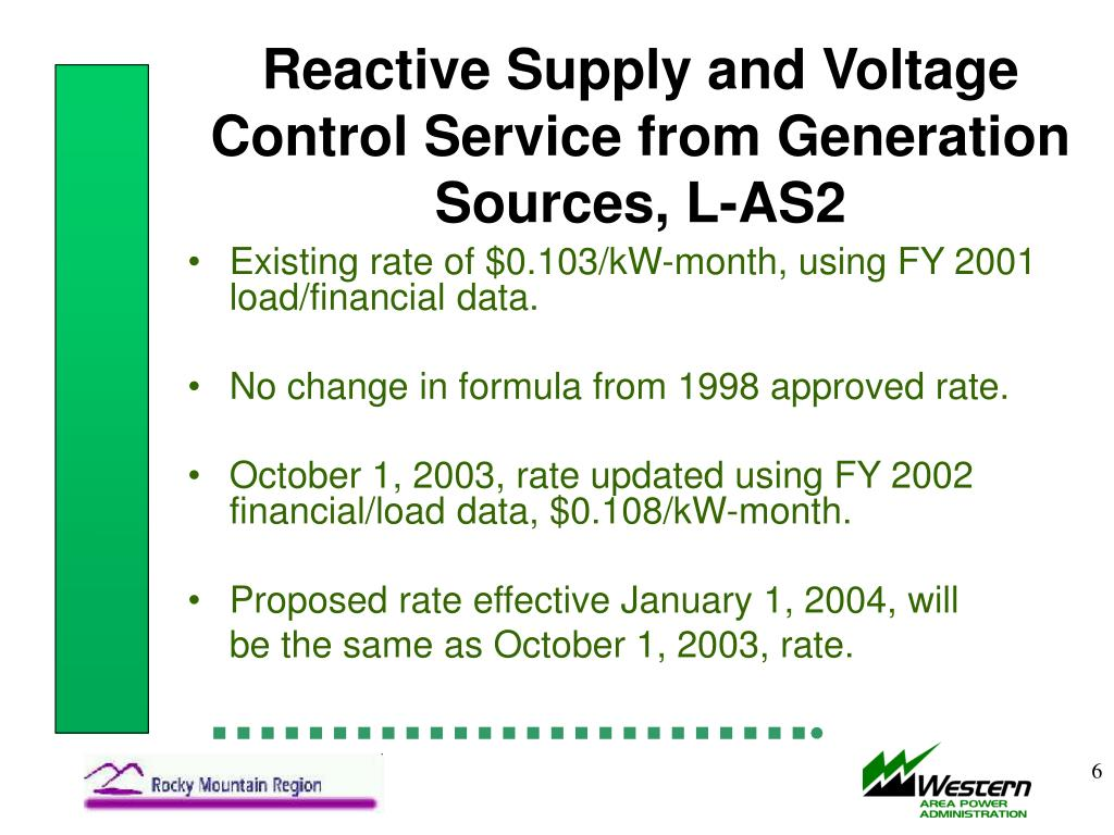 Reactive Supply and Voltage Control Service from Generation Sources, L-AS2