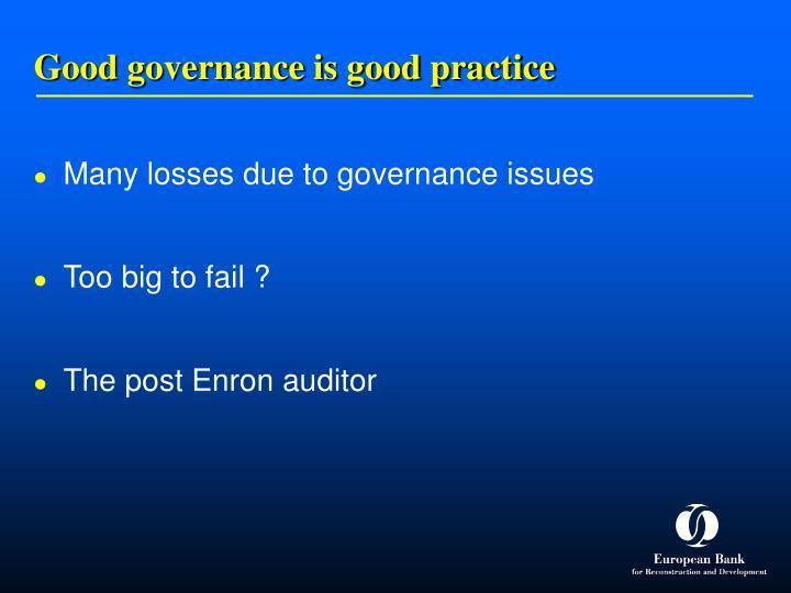 Good governance is good practice