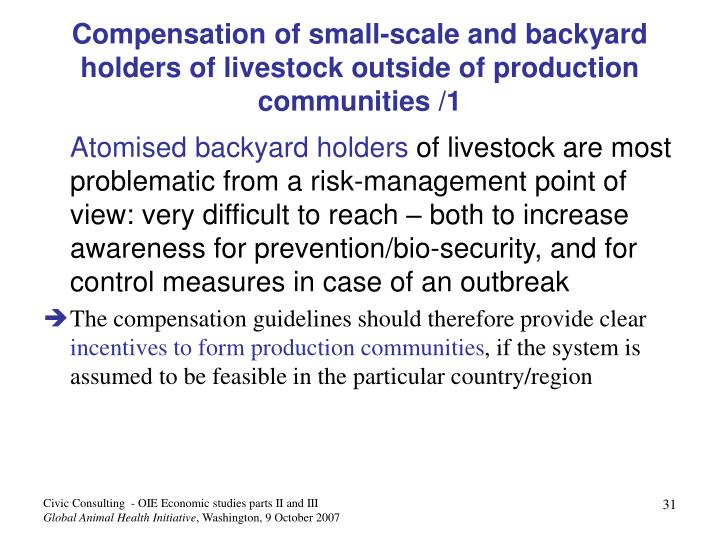 Compensation of small-scale and backyard holders of livestock outside of production communities /1