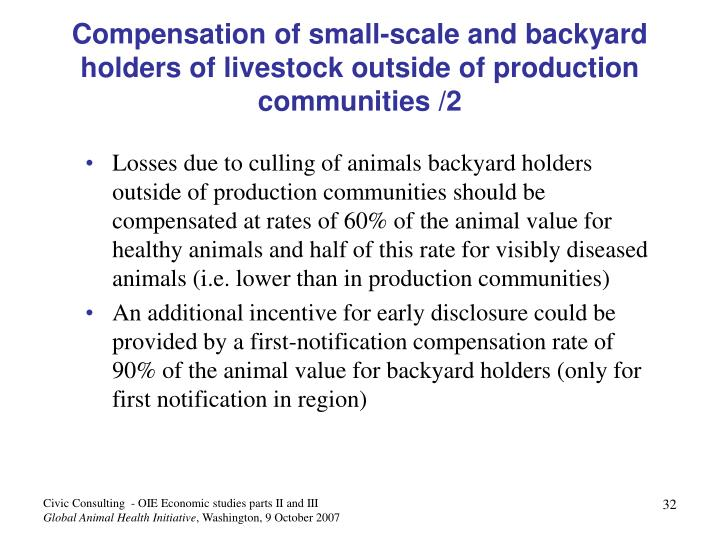 Compensation of small-scale and backyard holders of livestock outside of production communities /2