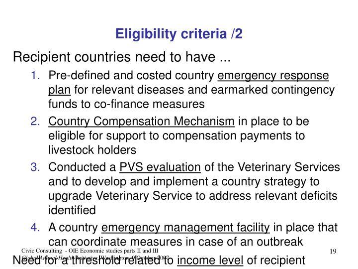 Eligibility criteria /2