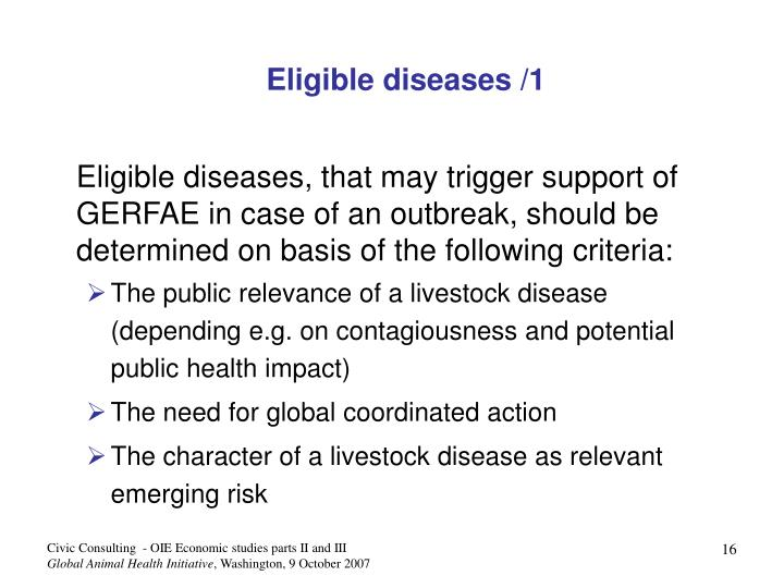 Eligible diseases /1