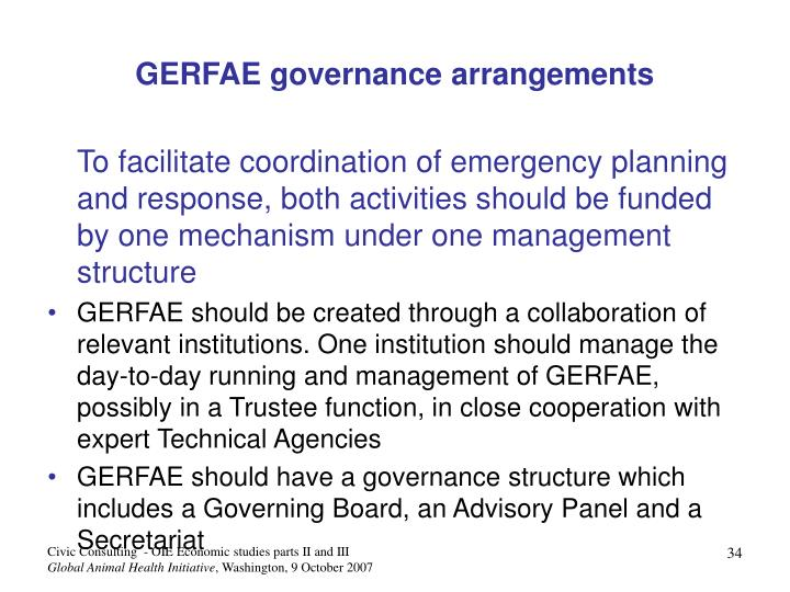 GERFAE governance arrangements