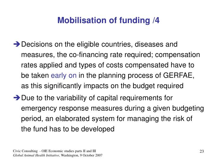 Mobilisation of funding /4