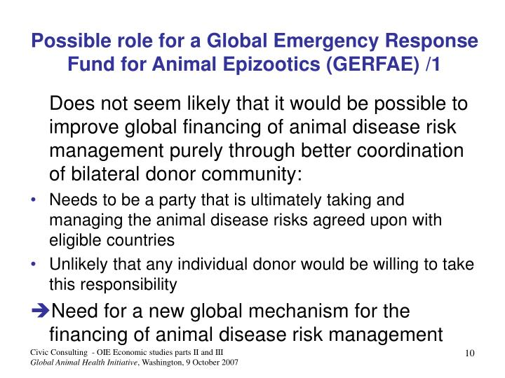 Possible role for a Global Emergency Response Fund for Animal Epizootics (GERFAE)