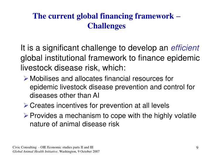 The current global financing framework – Challenges