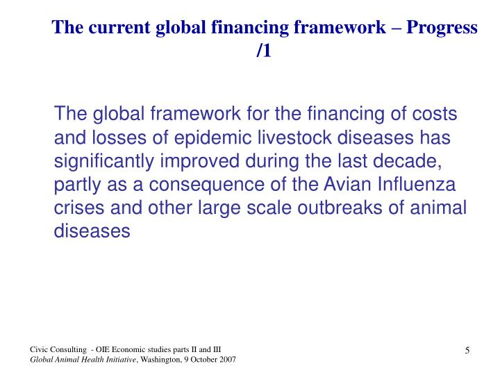 The current global financing framework – Progress /1