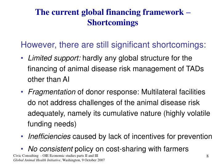 The current global financing framework – Shortcomings